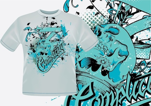 tshirt template blue grunge calligraphic decor