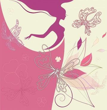 fashion background woman butterflies sketch flat silhouette design