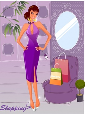 lifestyle background shopping woman icon colored cartoon design