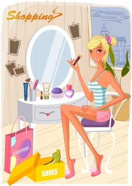 lifestyle background makeup girl icon cartoon character