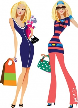 fashion women silhouettes vector illustration