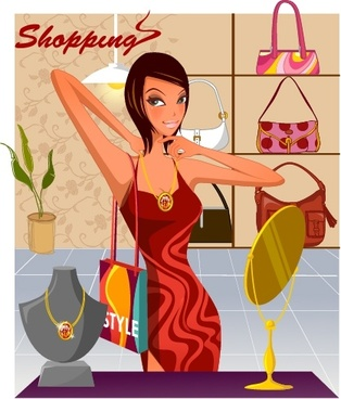 fashion background shopping woman icon cartoon character