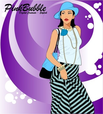 fashion background young lady icon cartoon character