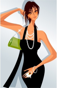 fashion background stylish woman icon cartoon character