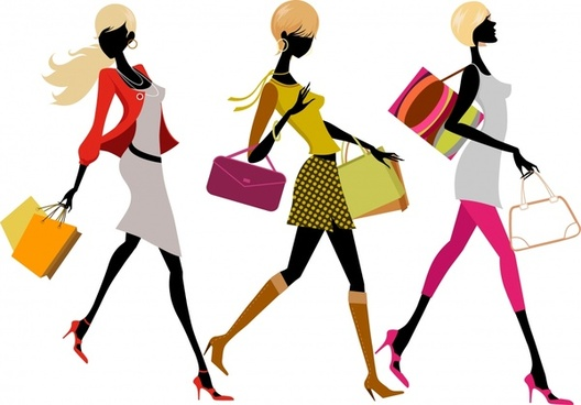 fashion background shopping women icons modern silhouette sketch