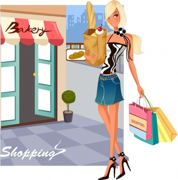 shopping background fashionable girl sketch cartoon character design