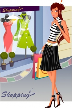 fashion shopping background young fashionable girl cartoon character