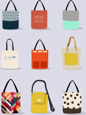 fashionable bag icons collection various colorful design
