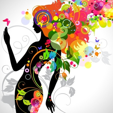 fashionable beauty silhouette vector
