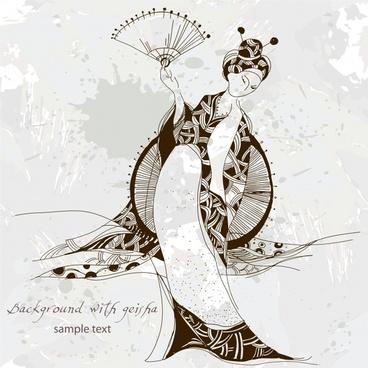 fashionable female illustrator vector