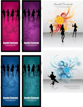fashionable female silhouette vector flowers background