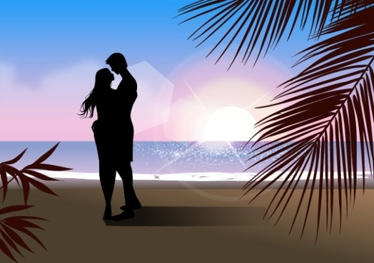fashionable men and women beach silhouette vector