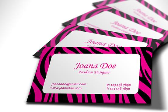 fashionable pink and black zebra business card design