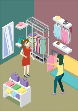 fashipn shop interior design sketch in colors