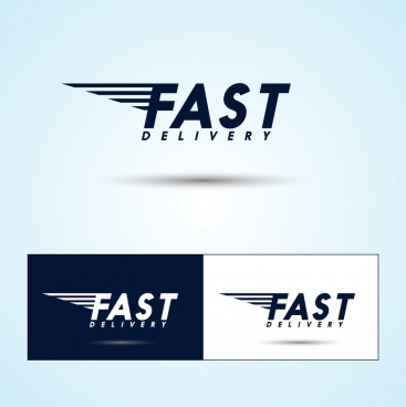 fast delivery logo sets capital texts decoration