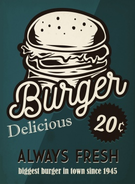 fast food advertisement burger icon retro design