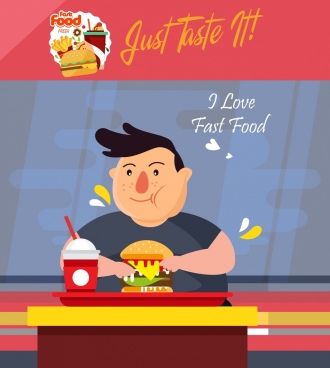fast food advertisement eating man icon colored cartoon