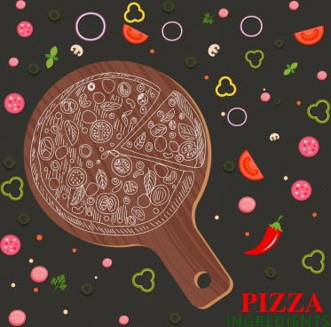 fast food advertisement kitchenware pizza ingredient slices icons