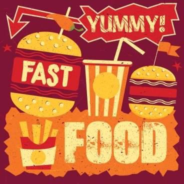 fast food advertisement multicolored retro grunge design