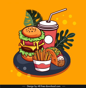 fast food advertising background colorful classical sketch