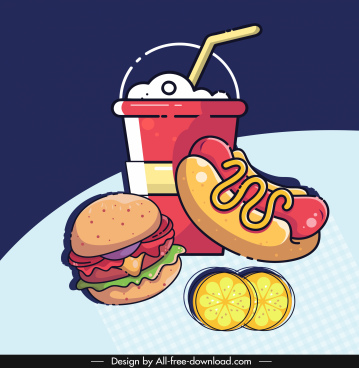 fast food advertising background colorful flat retro handdrawn