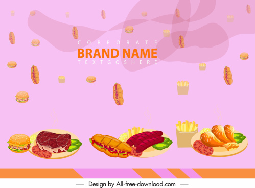 fast food advertising background colorful modern floating decor