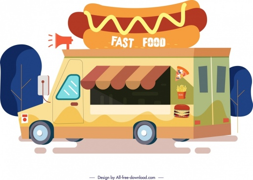 fast food advertising background van icon cartoon design