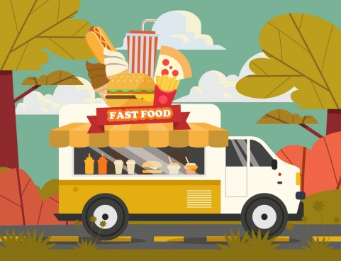 fast food advertising banner truck burgers hotdog icons