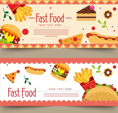fast food advertising banners burger hotdog chips icons