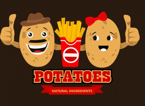 fast food advertising cute stylized potato icons