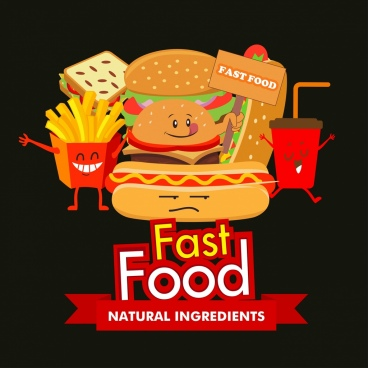 fast food advertising funny stylized design