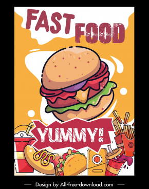fast food advertising poster colorful retro handdrawn sketch