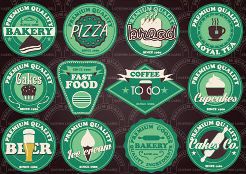 fast food and drink different colored labels vector