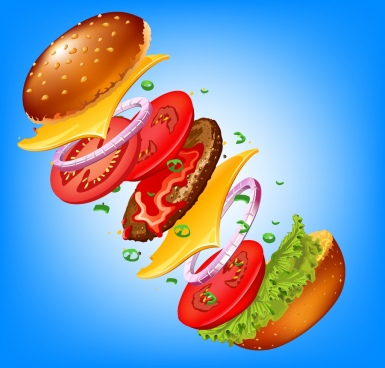 fast food background colored 3d hamburger component icon