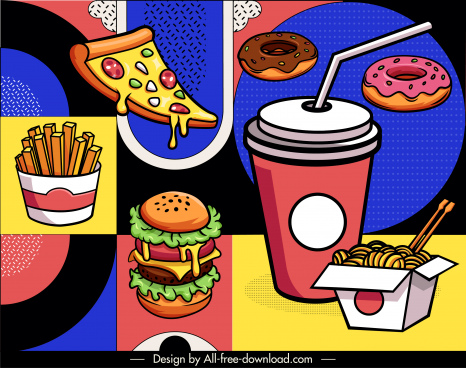 fast food background colorful classical sketch