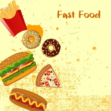 fast food banner burger cake icons grunge design