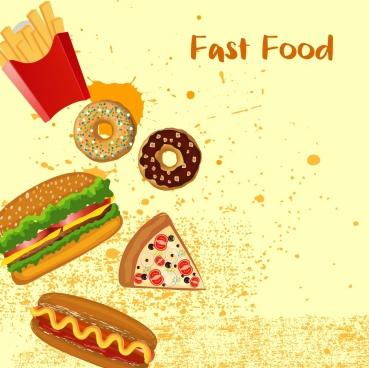 fast food banner burger cake icons grunge design