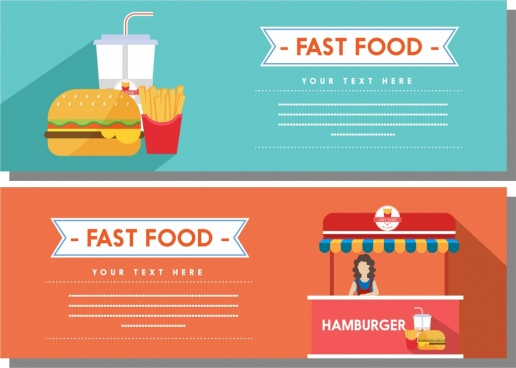 fast food banner sets colored food shop decoration