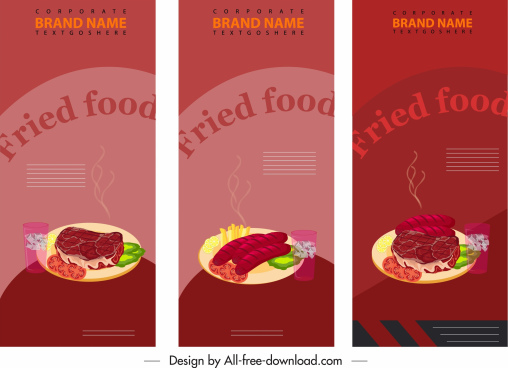fast food banner templates dark colorful vertical design