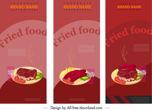 fast food banner templates dark colorful vertical design