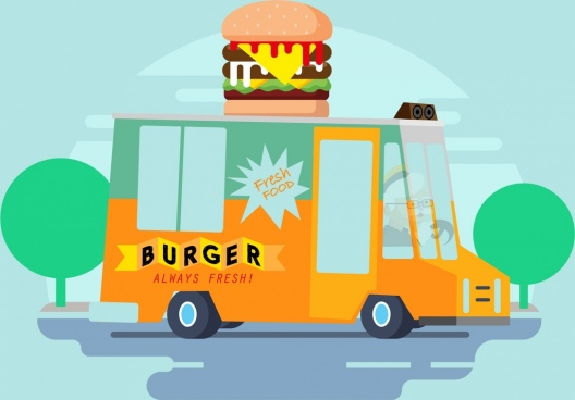 fast food banner truck hamburger icons cartoon design