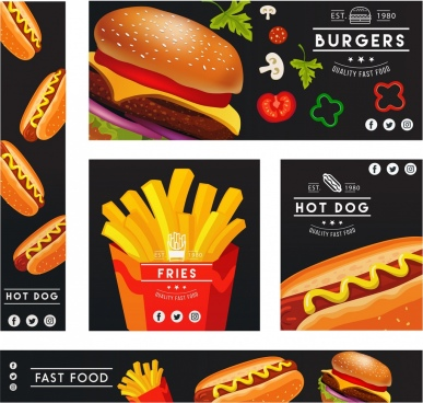 fast food banners sets colorful 3d icons decor