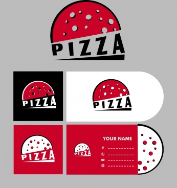 fast food business card pizza icon isolation