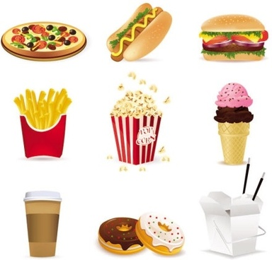 fast food cartoon 01 vector