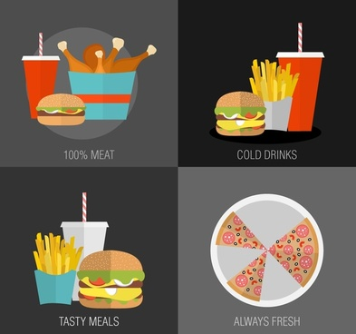 fast food concepts isolated with various cuisines