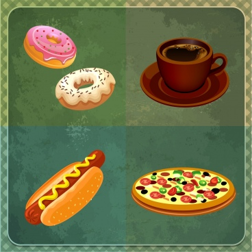 fast food design elements 3d colorful icons