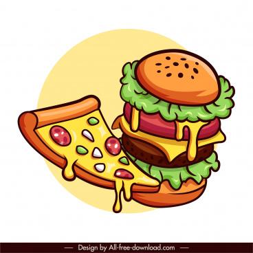 fast food design elements classic pizza hamburger sketch