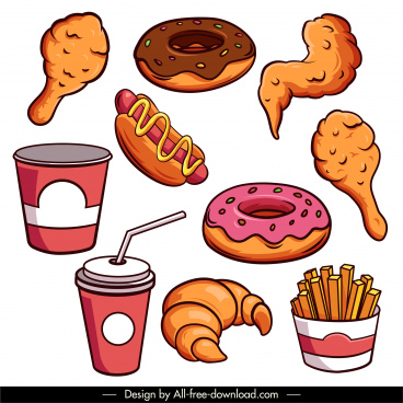 fast food design elements colored classical handdrawn sketch