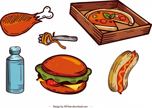 fast food design elements colored retro design