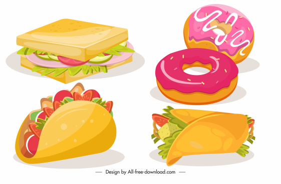 fast food design elements colorful 3d sketch